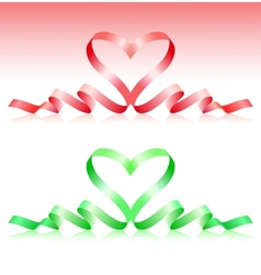 Red and green ribbons in the form of heart vector image
