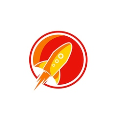 Rocket fly launch logo vector