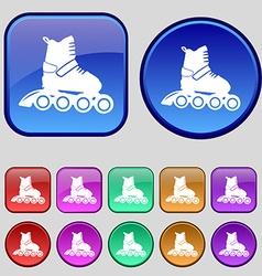 roller skate icon sign A set of twelve vintage vector image