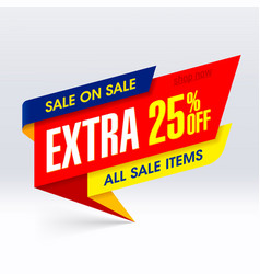 Sale on paper banner extra 25 off all vector