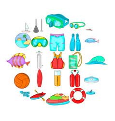 Scuba diving icons set cartoon style vector