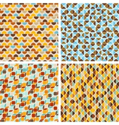 Seamless abstract geometric patterns set vector image