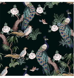 Seamless pattern in chinoiserie style with storks vector