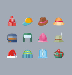 Set of hat flat design collection vector