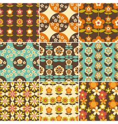 Set of Retro Flower Seamless Pattern Wallpaper vector image