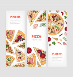 set of vertical banner templates with appetizing vector image