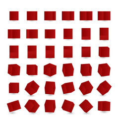 set with red cubes 3d animation cube rotation vector image