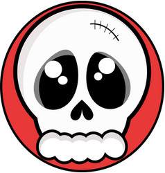 skull on a red background vector image
