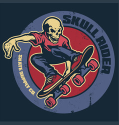 Skull skateboarder vintage badge vector