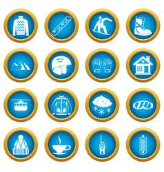 snowboarding icons blue circle set vector image