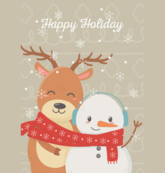 snowman reindeer celebration happy christmas card vector image