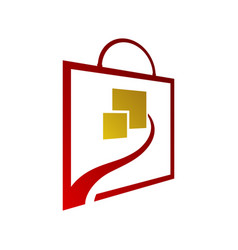 Square bag online shop logo for business vector