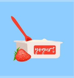 Strawberry yogurt fresh and healthy dairy product vector