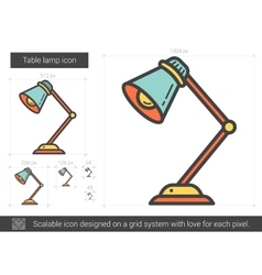 Table lamp line icon vector image