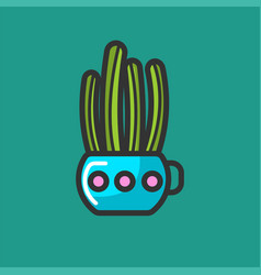 tall cactus and succulent plant in colourful pot vector image