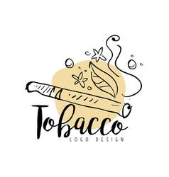 Tobacco logo design emblem for smoke shop vector