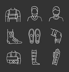 trauma treatment chalk icons set vector image