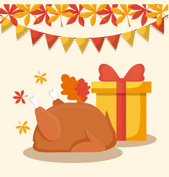 Turkey dinner with gift box of thanksgiving day vector