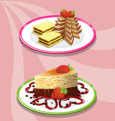 Two cake and saucer on a pink background vector