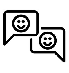 Two chat bubbles with smiles icon outline style vector