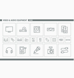 video and audio equipment icons - set web and mobi vector image