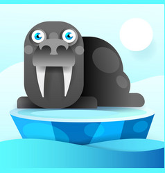 walrus rests on an ice floe vector image