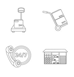 warehouse scales with a box trolley for vector image