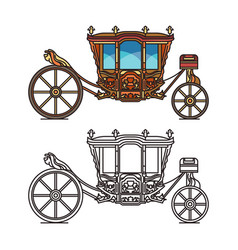Wedding or marriage carriage retro royal chariot vector