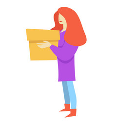 woman with box isolated female character girl vector image