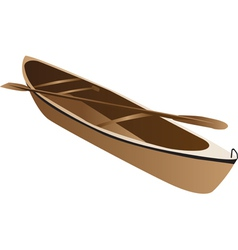 Wooden canoe vector