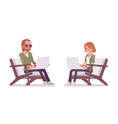 young red-haired man and woman sitting working vector image