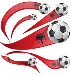 albania flag set with soccer ball vector image vector image