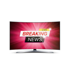 breaking news live red tv screen vector image vector image