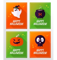 Halloween greeting card designs with ghost skull vector