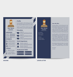 male resume and letter template vector image
