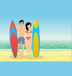 man and woman surfers vector image vector image