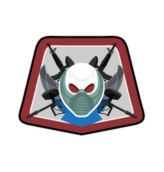 military emblem paintball logo army sign skull in vector image