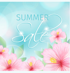Summer sale poster with pink hibiscus background vector