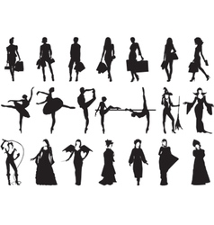 female silhouettes vector image vector image