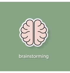 Flat style brain icon vector image