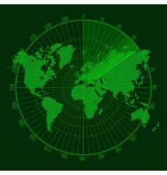 Green Radar Screen with Map vector image