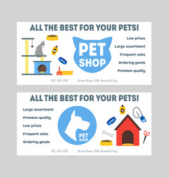 cartoon pet shop banner or flyer set vector image