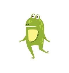 Frog running on two legs flat cartoon green vector