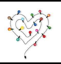 Heart love light bulb wedding vector image