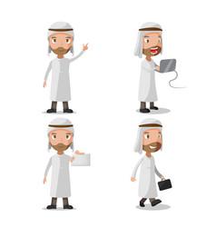 muslim business man character set vector image vector image