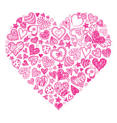 red hand drawn heart vector image