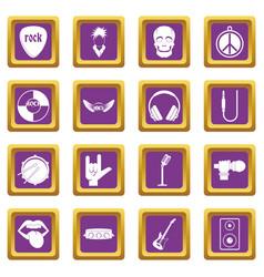 rock music icons set purple vector image