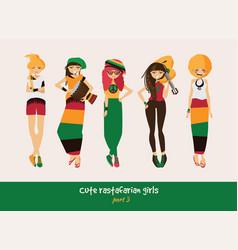 set with isolated rasta girls rastafarian vector image