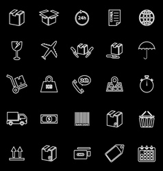 Shipping line icons on black background vector image