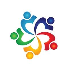 Teamwork swoosh people logo vector